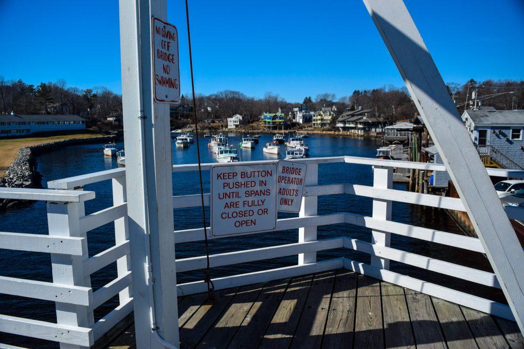 Manually operated drawbridge in Perkins Cove in Ogunquit, ME.
